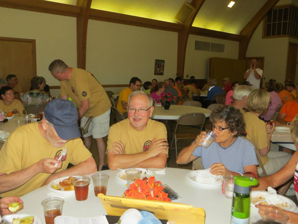 Dinner in the church, typical of each night