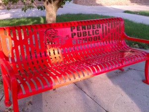 You can really see the school pride in these small towns.  They had a dozen of these benches outside the school.