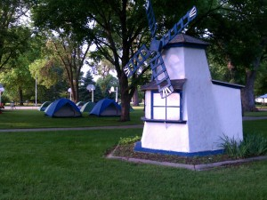 The outdoor campers tonight in the very nice city park at Pender.