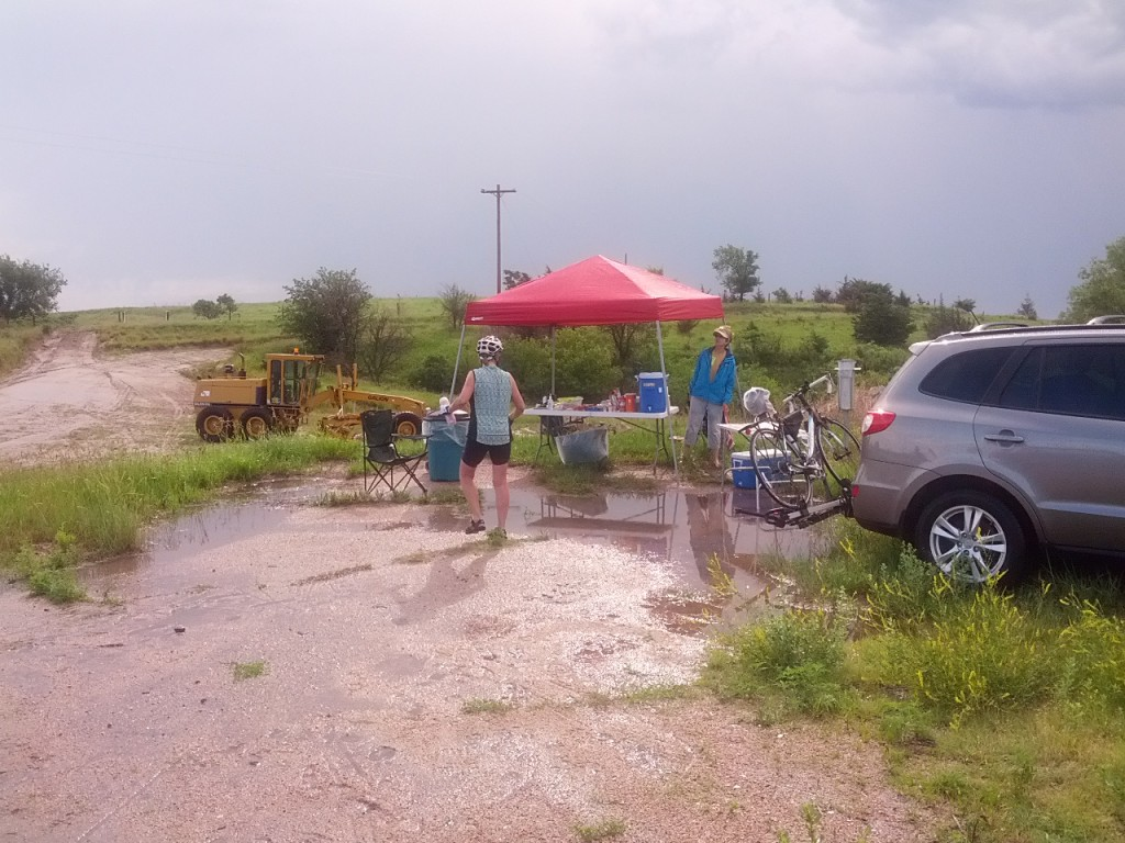 There was rain, there was lightening, there was more rain.  We had to wade through the water to get to the SAG table